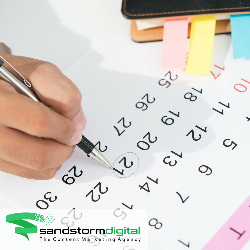 content calendar - man pen