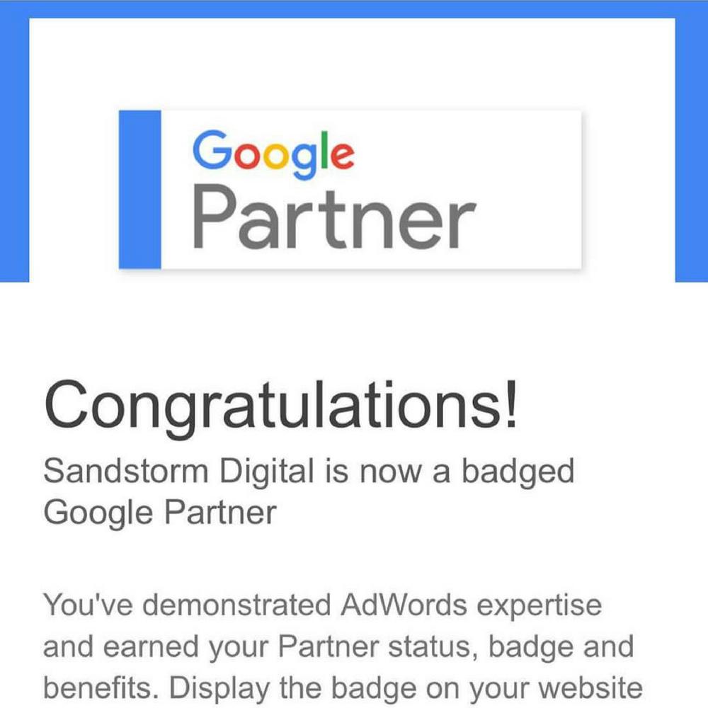 Sandstorm Awarded Google Advertising Adwords Partner Badge